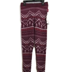 NWT Pink Rose Burgundy Leggings With Tree's